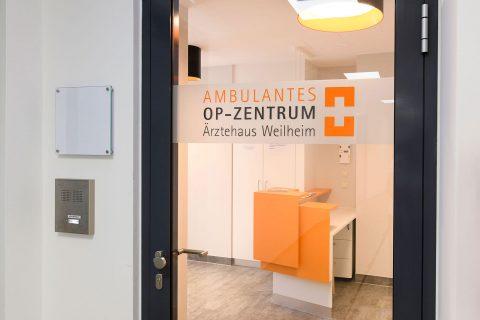OPZ Weilheim Eingangsbereich OP-Zentrum OPZ Weilheim Ambulante OP Operation Arthroskopie